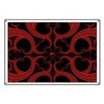 Red and Black Goth Fractal Art Heart Pattern Banne