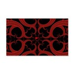 Red and Black Goth Fractal Art Heart Pattern 20x12