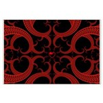 Red and Black Goth Fractal Art Heart Pattern Large