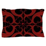 Red and Black Goth Fractal Art Heart Pattern Pillo