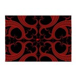 Red and Black Goth Fractal Art Heart Pattern 5'x7'