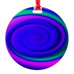 Abstract Blue Swirl Pattern Round Ornament