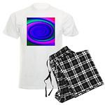 Abstract Blue Swirl Pattern Men's Light Pajamas