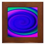 Abstract Blue Swirl Pattern Framed Tile