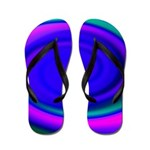 Abstract Blue Swirl Pattern Flip Flops