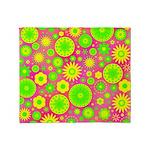 Yellow Green Hippie Flower Throw Blanket