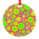 Yellow Green Hippie Flower Round Ornament