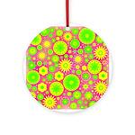 Yellow Green Hippie Flower Ornament (Round)