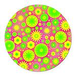 Yellow Green Hippie Flower Round Car Magnet