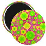 Yellow Green Hippie Flower Magnet