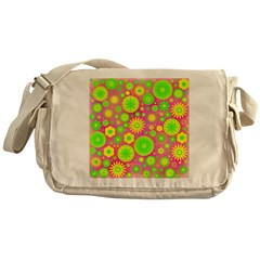 Yellow Green Hippie Flower Messenger Bag