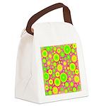 Yellow Green Hippie Flower Canvas Lunch Bag