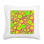 Yellow Green Hippie Flower Square Canvas Pillow