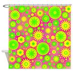 Yellow Green Hippie Flower Shower Curtain