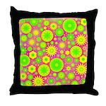 Yellow Green Hippie Flower Throw Pillow