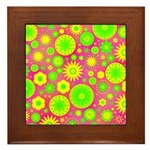 Yellow and Green Hippie Flower Pattern Framed Tile