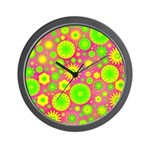 Yellow and Green Hippie Flower Pattern Wall Clock