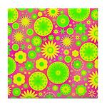 Yellow Green Hippie Flower Tile Coaster