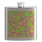 Yellow and Green Hippie Flower Pattern Flask