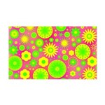Yellow and Green Hippie Flower Pattern 35x21 Wall