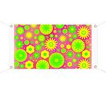 Yellow and Green Hippie Flower Pattern Banner