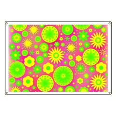 Yellow and Green Hippie Flower Pattern Banner
