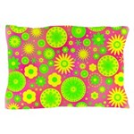 Yellow and Green Hippie Flower Pattern Pillow Case
