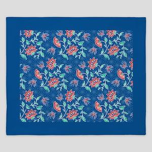 Aiyana Floral Batik Blue King Duvet