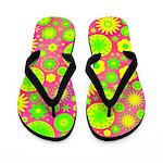 Yellow and Green Hippie Flower Pattern Flip Flops