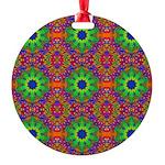 Orange Lime Green Fractal Round Ornament