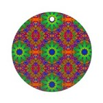 Orange Lime Green Fractal Ornament (Round)