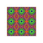 Orange Lime Green Fractal Square Sticker 3