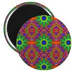 Orange and Lime Green Fractal Pattern Magnet