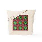 Orange and Lime Green Fractal Pattern Tote Bag