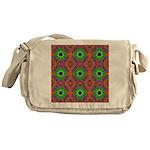 Orange Lime Green Fractal Messenger Bag