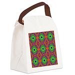 Orange Lime Green Fractal Canvas Lunch Bag