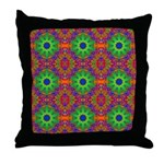Orange and Lime Green Fractal Pattern Throw Pillow