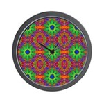Orange and Lime Green Fractal Pattern Wall Clock