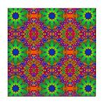 Orange and Lime Green Fractal Pattern Tile Coaster