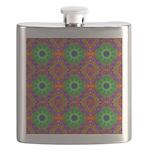 Orange and Lime Green Fractal Pattern Flask