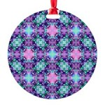 Turquoise Purple Fractal Pattern Round Ornament