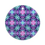 Turquoise Purple Fractal Pattern Ornament (Round)