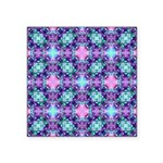 Turquoise Purple Fractal Pattern Square Sticker 3