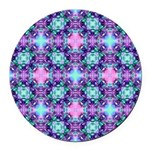 Turquoise Purple Fractal Pattern Round Car Magnet