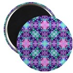 Turquoise Purple Fractal Pattern Magnet