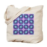 Turquoise Purple Fractal Pattern Tote Bag