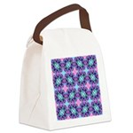 Turquoise Purple Fractal Pattern Canvas Lunch Bag