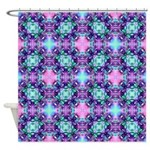 Turquoise Purple Fractal Pattern Shower Curtain
