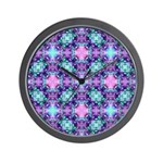 Turquoise Purple Fractal Pattern Wall Clock