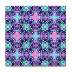 Turquoise Purple Fractal Pattern Tile Coaster
